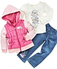 Nannette Little Girls Hoodie Vest, Tee and Jeans Set